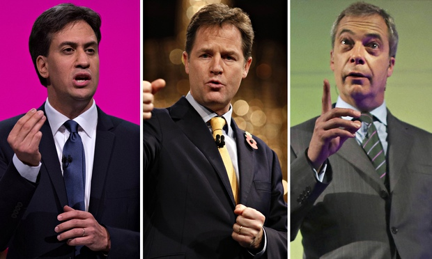 Ed Miliband, Nick Clegg, Nigel Farage